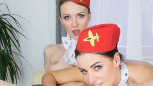 Horny Flight Attendants czechvr Belle Claire Eveline Dellai vr porn video vrporn.com virtual reality