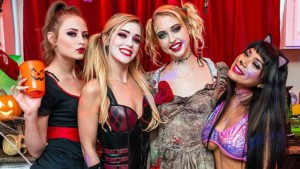 Halloween House Party Cum-Slinger WANKZVR Kali Roses Kyler Quinn Chloe Cherry Aryana Amatista vr porn video vrporn.com virtual reality
