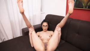 Sporty Teen With Glasses Gets Off On Her Couch VRSexperts Ashley Ocean vr porn video vrporn.com virtual reality